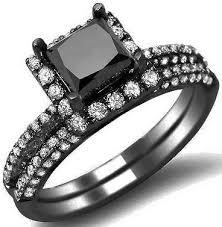 black gold wedding sets 2 45ct black princess cut diamond engagement ring wedding set 14k