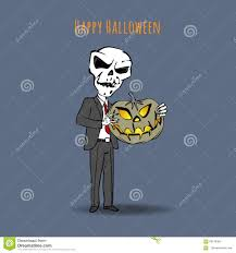 skeleton in a suit and a tie with an evil pumpkin happy halloween