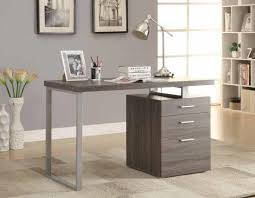 grey desk with drawers coaster 800520 silver finish metal frame and weathered grey wood
