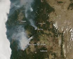 Oregon Forest Fires Map by Happy Camp Fire In California And 790 Fire In Oregon Nasa