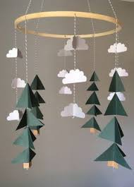 mountain baby mobile tree cloud mobile grey mint blue cing