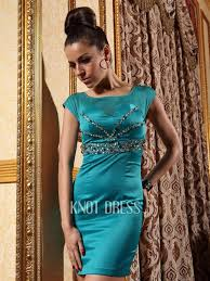 elegant column red or turquoise square short sleeves paillette