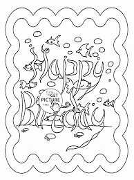 underwater happy birthday coloring page for kids holiday coloring