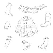 hand drawn winter clothes sketch drawn shoes on high heel scarf