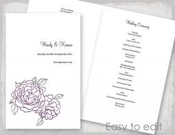 Catholic Wedding Booklet Wedding Program Template Amethyst Purple And Green