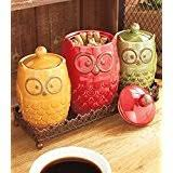 owl canisters for the kitchen the pioneer garden meadow 3 canister set kitchen things