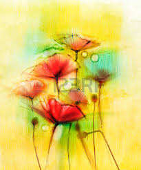 watercolor red poppy flowers painting flower paint in soft color
