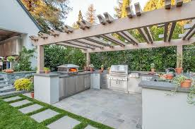 Outdoor Cabinets And Countertops Fieldstone Outdoor Kitchen With Brown Granite Countertops
