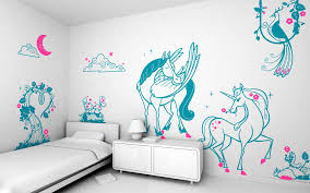 Unicorn Home Decor Tasteful Blue Sticker Unicorn Wall Decal With White Single Bed And