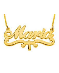 The Name Necklace Maria Cross Gold Name Necklace The Name Necklace