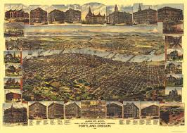 Portland Tourist Map by Illustrated Aerial Map 1890 Portland Portland Map And View Map