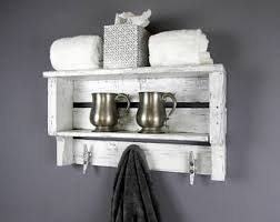 White Bathroom Shelf With Hooks by 4 Foot Plank Coat Rack With Five Galvanized Boat Cleats You