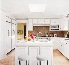 White Kitchen Cabinets And White Countertops Kitchen Skylight Design Ideas
