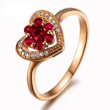 love shaped rings images Heart shape ruby and diamond engagement ring on 9ct yellow gold jpg