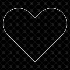 heart outline on black background vector clipart image 176537