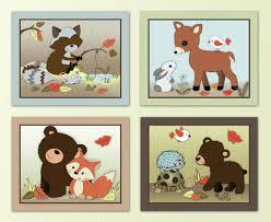 baby fox nursery decor forest animal set woodland nursery wall art