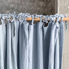 Linen Drapes Bluish Grey Washed Linen Curtains Linen Drapes In Bluish