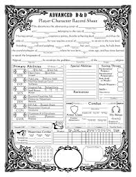 The Best Sheets Dungeons And Dragons Character Sheets Baroque Character Sheet