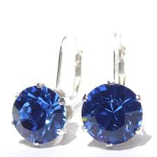 are leverback earrings for pierced ears buy drop earrings made with sapphire blue swarovski elements