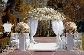 wedding arch lights wedding arch in the garden stock photo picture and royalty free
