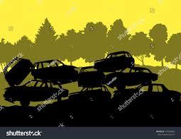 auto junkyard nyc iron scrap car junkyard vector background stock vector 174696095
