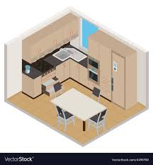 home interior vector isometric kitchen interior royalty free vector image