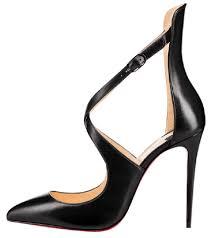 christian louboutin black marlenarock 100 leather ankle strap heel