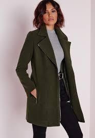 faux wool biker jacket khaki missguided