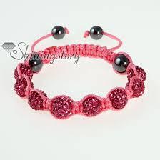 cord macrame bracelet images Pink cord macrame disco glitter ball pave beads bracelets wholesale jpg