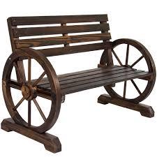 Wood Patio Furniture Bcp Patio Garden Wooden Wagon Wheel Bench Rustic Wood Design