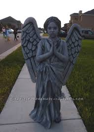 homemade guardian angel statue costume for a 9 year old