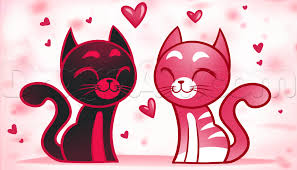 how to draw valentine cats step by step valentines seasonal