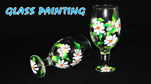 diy crafts how to paint beautiful flowers on glasses youtube