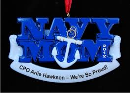 navy personalized ornaments by