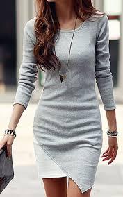 grey white patchwork irregular hem long sleeve bodycon elegant