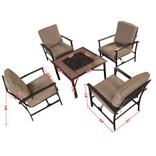 Firepit Set by Gym Equipment Outdoor Patio Furniture Set Chairs With Firepit 5 Pieces