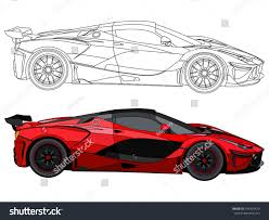 supercar drawing detailed side flat red car cartoon stock vector 745955479