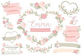 soft pink floral wreath vector illustrations creative market