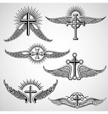 cross wings and a in the middle vector image