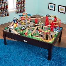 table top train set kidkraft airport express espresso table and set train sets amazon