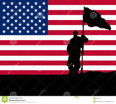 Holding The Flag Man Holding Flag With Star Banner Stock Illustration Image 6959906