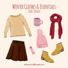 beautiful clothes beautiful painted winter clothes and accessories set vector
