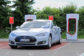 tesla charging paimio finland may 14 2015 tesla model s being charged at