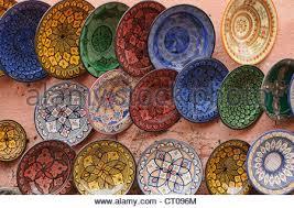 souvenir plates in marrakech morocco stock photo royalty free