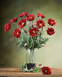 Vase With Red Poppies Poppy Silk Flower Stems For Arranging At Petals