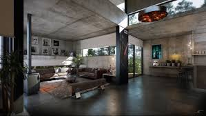exposed concrete surfaces span the ceilings walls floors and