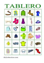 bingo de ropa y accesorios speech therapy pinterest bingo