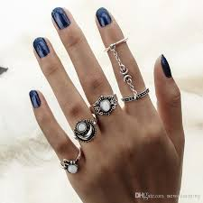 knuckle rings silver images 2018 antique plated silver knuckle rings set chain mittens rings jpg