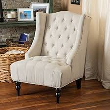 Tufted Accent Chair Clarice Wingback Light Beige Tufted Fabric Accent