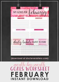 goals worksheet free printable february 2017 six clever sisters